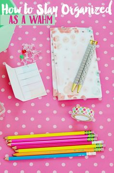 {Office Ideas} If you're swamped and buried under piles of work, I can relate! Here are some tips to stay organized as a work at home mom. If you're a DIY entrepreneur or business owner, these tips are for you!