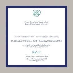 Bilingual wedding invitation from Draenog Design - Gwahoddiad priodas dwyieithog - Sioned collection Personalised Wedding Invitations, Wedding Stationery, Celtic Patterns, Invite Your Friends, Color Schemes, Wedding Day, Names, Weddings, Writing