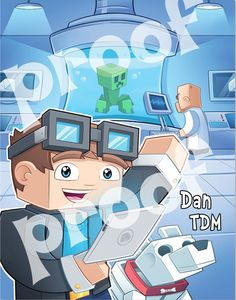 Printable. Dan TDM Poster The Diamond Minecart. Kids and adults love Dan TDM's Videos about minecraft.