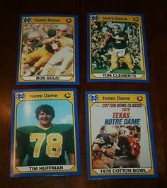 Lot of Four NOTRE DAME Football Trading Cards-Clements/Golic/Huffman/cotton bowl