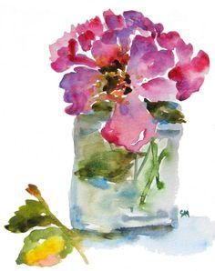 Purple Roses in Jar Watercolor Fine Art by pineapplebaystudio