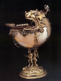 Nautilus Cup. 1592. Silver gilt, Glass and Enamel. Gemeente Museum, Delft. The Netherlands.
