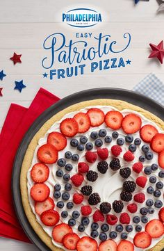 Bring the patriotism and the deliciousness to your 4th of July party with Easy Patriotic Fruit Pizza. Made with PHILADELPHIA Cream Cheese, sugar cookies, vanilla, sugar, strawberries, blueberries, and blackberries. Is America great or what?