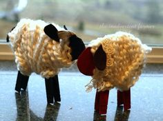 Little yarn sheep - Preschool craft using wooden clothespins for the legs, cardboard for the body & yarn wrapped around for the fleece; we are doing this during Nursery Rhymes week for Mary Had a Little Lamb & Baa Baa Black Sheep.