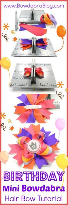 Birthday Mini Bowdabra Hair Bow Tutorial - Celebrate your birthday in style with a Mini Bowdabra hair bow. This brightly colored hair bow is adorable in a little ones hair and she will surely feel like a princess on her big day! Making Hair Bows, Diy Hair Bows, Diy Bow, Bow Hair Clips, Bow Making, Ribbon Crafts, Ribbon Bows, Ribbons, Hair Bow Tutorial