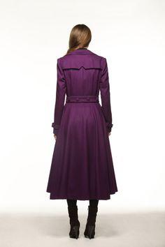 Purple Dress Coat Big Sweep Women Wool Winter by Sophiaclothing