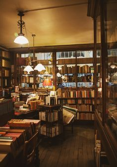 "shevyvision:  ""Walking the stacks in a library, dragging your fingers across the spines — it's hard not to feel the presence of sleeping spirits.""  ― Robin Sloan Librairie Ancienne et Moderne, Galerie Vivienne, Paris"