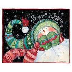 SnowKisses - adorable snowman illustration with matching hat, scarf, and mittens Christmas Signs, Christmas Pictures, Christmas Snowman, Christmas Projects, Winter Christmas, Vintage Christmas, Christmas Ornaments, Xmas, Snowmen Pictures