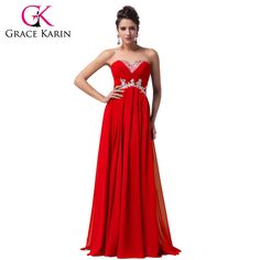 Grace karin vestidos de dama de rojo amarillo azul moldeado sin tirantes largo de la gasa vestido de fiesta del banquete de boda de dama de honor vestidos de liquidación