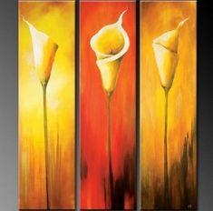 Calla Lily Art, Abstract Art, Flower Art, Canvas Painting, Bedroom Wall Art, Large Art, Wall Painting, Abstract Painting, Acrylic Art, 3 Piece Wall Art, Canvas Art