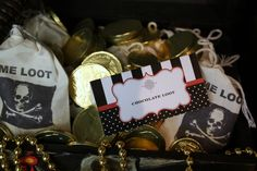 """Chocolate Loot"" @kissmekate http://www.prettymyparty.com/pirate-themed-birthday/"