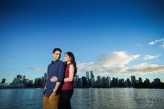 Engagement photos with Vancouver's skyline in the background