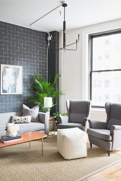 Get this look in EB & Kris | Sofa. Highback chair | gray chairs | modern furniture | ebandkris.com