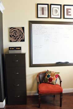 Get Your Home Office Organized Giant White Board With Trim Desk Layout