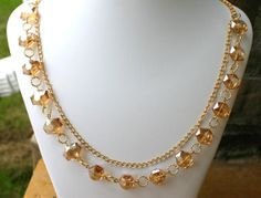 Crystal and chain necklace