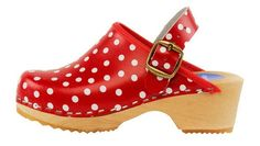 Red Polka Clog - Red polka dot clogs for kids are fun and trendy. Made with genuine leather uppers and alder wood soles, including moveable heel strap for kids safety. Order here: http://store.capeclogs.com/RedPolka.aspx.