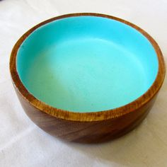 Upcycled Wooden Bowl hand painted spearmint by BespokenArts