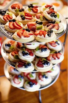 Mini Fruit Pizzas  Replace crust with toffee crunch tea sugar cookies. Cream cheese with Apple caramel cheeseball.