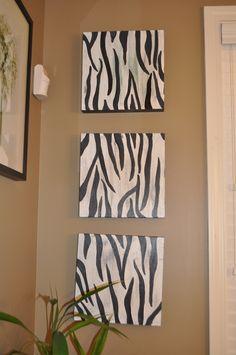 Zebra pics for 1/2 bathroom