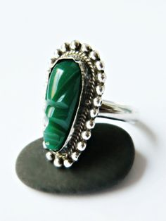 Sterling Silver Aztec Ring / Vintage Mexico