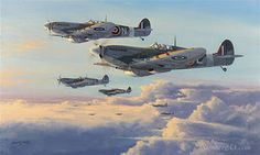 Spitfires - High Patrol by Philip West - A gathering section of 124 Squadron Spitfires led by Peter Ayerst climbs for height above the bomber stream and a lone Mosquito. This Squadron plus many others was tasked with protecting the bombers over occupied Europe