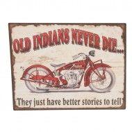Placuta decorativa metalica cu motocicleta vintage. Trademan Suedia Good Stories To Tell, Tin Signs, Retro Vintage, Transportation, Metal, Indian Motorcycles, Metals