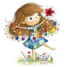 Pretty children art from Kim Barnes Girl Cartoon, Cute Cartoon, Cartoon Art, Children's Book Illustration, Character Illustration, Whimsical Art, Belle Photo, Cute Drawings, Art Pictures