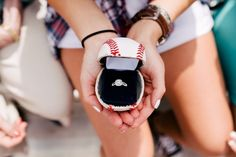 22 Cute Engagement Announcement Ideas You'll Want to Copy - Trust us—you won't want to spill the beans until you've seen these cute and creative engagement announcement ideas. baseball engagement ring box cute {Cameron Faye Photography} Baseball Proposal, Baseball Engagement Photos, Baseball Couples, Engagement Pictures, Wedding Proposals, Marriage Proposals, Creative Engagement Announcement, Ways To Propose, Happy Tears