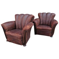 pair of french art deco leather club chairs from a unique collection of antique and channel tufted furniture