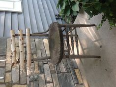 Jen S.'s - Took an old wooden chair, added birch branches - Outdoor Chairs, Dining Chairs, Outdoor Furniture, Outdoor Decor, Old Wooden Chairs, Birch Branches, Log Home Decorating, Rustic Chair, Diy Chair