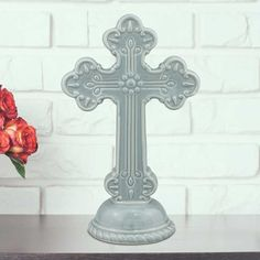 Stonebriar Collection Ceramic Cross Pedestal Table Decor