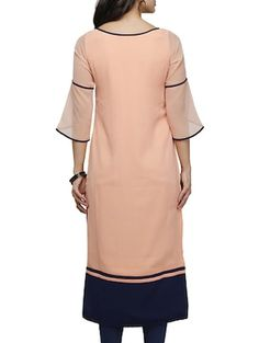 peach poly georgette straight kurta