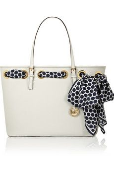 LOVE this simple looking purse with the polka dot scarf!! MICHAEL Michael Kors Jet Set Scarf medium textured-leather tote | NET-A-PORTER