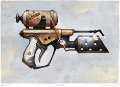 Flamethrower by Olga Starodubtseva Steampunk Weapons, Sci Fi Weapons, Concept Weapons, Fantasy Weapons, Larp, Cyberpunk, Fallout Art, Homemade Weapons, Post Apocalypse