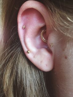 Tiny gold piercings  dainty delicate helix daith tragus lobe multiple earrings minimalist BVLA