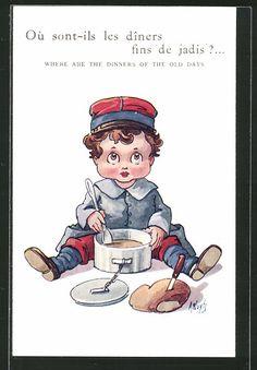 Künstler-AK A. Wuyts: Junge als Soldat isst seine Suppe, Kinder Kriegspropaganda…