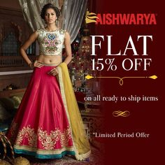 Have you shopped on our website yet?? Shop now and avail a FLAT 15% off on all ready to ship products! Buy this lehenga online - http://www.aishwaryadesignstudio.com/classic-powder-green-pink-edgy-lehenga-choli