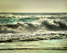Ocean photography, beach decor, ocean decor, beach photo, teal, 8x10, monochromatic photography