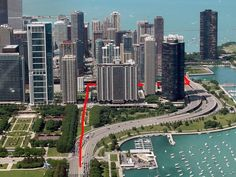S Curve (marked in red) - 400 East Randolph (center) used to be east of Lake Shore Drive; now it and several more newer buildings are to the west.
