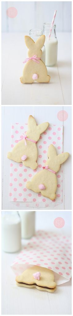 Rabbit cookies Ingredients Cookie dough: 400 g flour 125 g sugar 200 g butter, cold and diced 1 egg 1 pinch of salt Chocolate filling: 150 g dark chocolate 100 g butter 100 g confectioners' sugar D…
