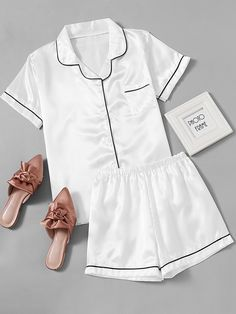 SheIn offers Contrast Piping Satin Pajama Set & more to fit your fashionable needs. Satin Pyjama Set, Satin Pajamas, Pajama Set, Cute Sleepwear, Lingerie Sleepwear, Nightwear, Pajama Outfits, Cute Outfits, Fashion Clothes