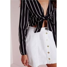 Missguided Stripe Tie Front Crop Top ($32) ❤ liked on Polyvore featuring tops, striped crop top, stripe top, sexy crop top, black and white stripe top and sexy tops