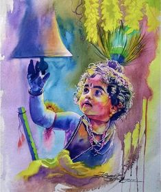 My watercolour painting. Holi Painting, Ganesha Painting, Watercolour Paintings, Watercolors, Watercolor Art, Little Krishna, Cute Krishna, Bal Krishna, Krishna Art
