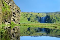 Waterfall Reflection, Skógafoss, Iceland