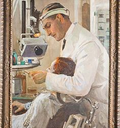 'The Dentist' 1934 - Irish painter Sir John Lavery - Illustrations, Illustration Art, Dentist Art, Metal Outdoor Chairs, Irish Painters, Glasgow Museum, Images Vintage, Dental Office Design, Irish Art