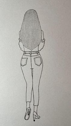 Pencil Sketches Of Girls, Easy Pencil Drawings, Easy Doodles Drawings, Easy Doodle Art, Girl Drawing Sketches, Cute Easy Drawings, Art Drawings Beautiful, Girly Drawings, Girl Sketch