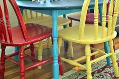 Spray painted table and chairs with chalkboard table top
