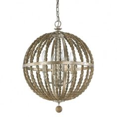 Lowell Orb Pendant with Wood Beads