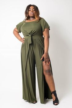 """Imported Tie Crop top and Wide slit Pant set Polyester Spandex Olive BBA Plus Size Crop Top Pant Set split Item Measurements: SIZE Measurements: SIZE Length:"""" Waist:"""" Bust:"""" split split Tie Up Crop Top, Long Sleeve Crop Top, Plus Size Dresses, Plus Size Outfits, Mini Dresses, Ball Dresses, Plus Size Crop Tops, Plus Size Jumpsuit, Long Tops"""