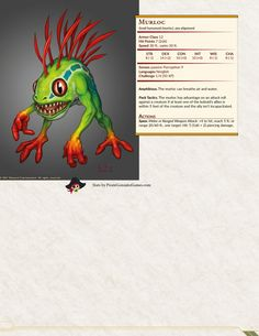 Murloc Cool Monsters, Dnd Monsters, Dungeons And Dragons Homebrew, D&d Dungeons And Dragons, Krieg Borderlands, Dnd Stats, Night Elf, Game Night, Dungeon Master's Guide
